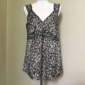 LOFT gray floral Empire Wrap blouse top 14 XL